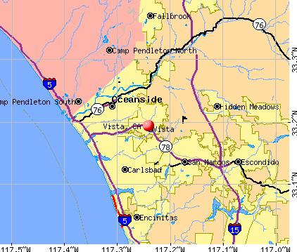 How far is Vista from the beach?